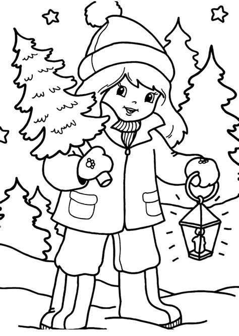 disegni bambina da stare e colorare disegno di bambina con albero di natale da colorare