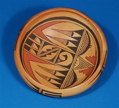 hopi pueblo polychrome dish  bird designs  marcella