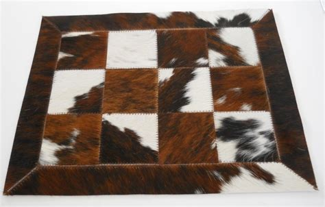 Cowhide Placemats by Brown White Cowhide Placemats Gifts Rugs And Hides