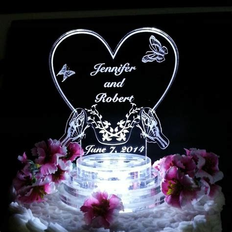 butterfly heart lighted wedding cake topper lit acrylic