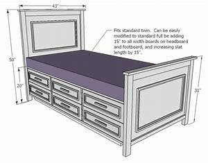 Woodworking Plans Twin Bed Frame With Drawers Plans PDF Plans