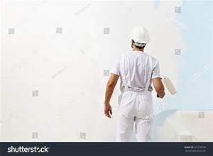 Painter Man Work Paint Roller Wall Stock Photo 316770233 ...