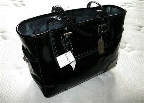 Nwt Coach Crinkled Calf Patent Blk Leather Gallery Lunch