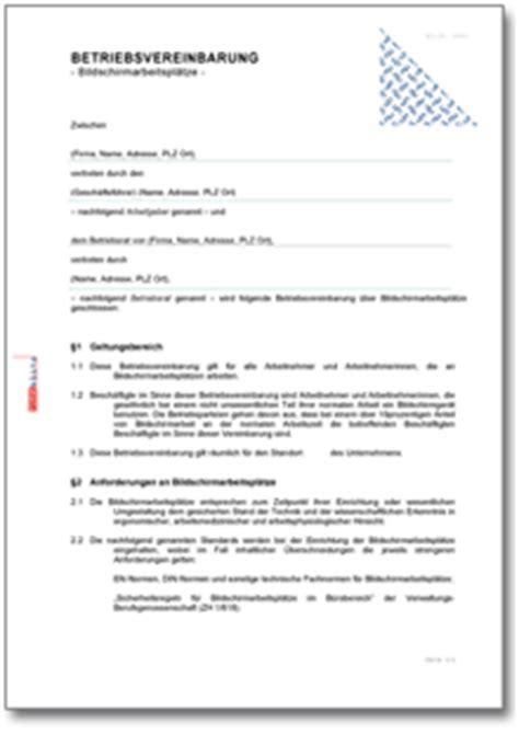 betriebsvereinbarung bildschirmarbeitsplaetze de vertrag