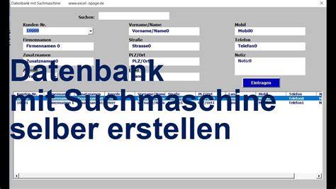 excel vba datenbank mit suchmaschine selber erstellen