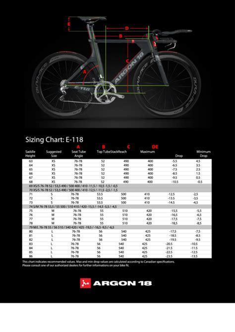 argon  bike size chart printable