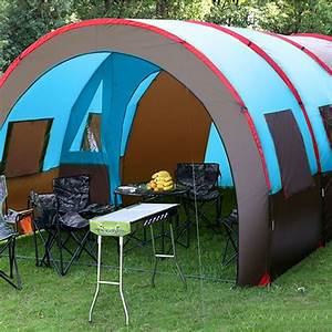 8 10 People Waterproof Camping Tunnel Tent Double Layer