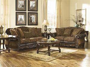 ashley fresco antique durablend and fabric 2 pc sofa with With furniture world living room sets