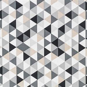 Papier Peint Motif Geometrique : coton motif g om trique gris pas cher tissus price ~ Dailycaller-alerts.com Idées de Décoration