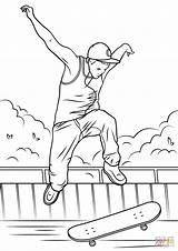 Skateboard Coloring Jump Pages Drawing Printable Print Skateboarding Paper sketch template