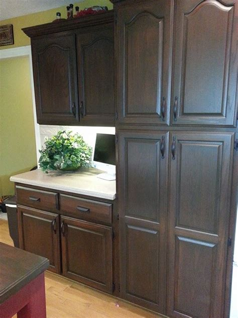antiquing cabinets with stain antique walnut cabinet transformation general finishes