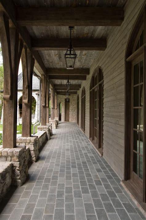 rustic front porch  exposed beams hgtv