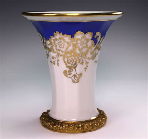 Decorated Vase by German Rosenthal Blue And Gold Decorated Porcelain Vase