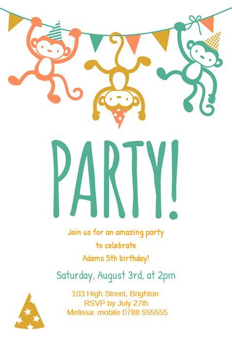 childrens party birthday invitation template