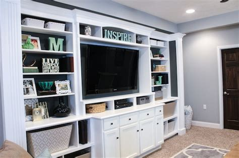 Decorating Ideas For Entertainment Center Shelves by The Basement Built In Entertainment Center Bookshelves