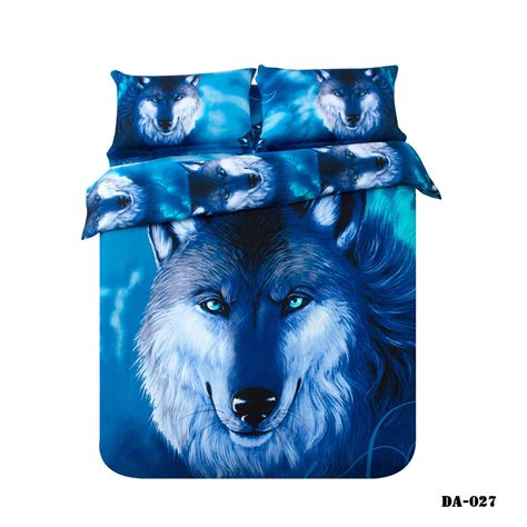 3 7 piece 100 organic cotton 3d wolf print bed sheets