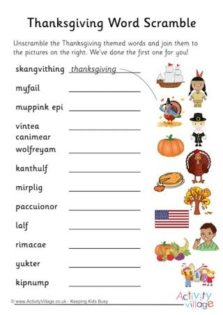 thanksgiving directions worksheet