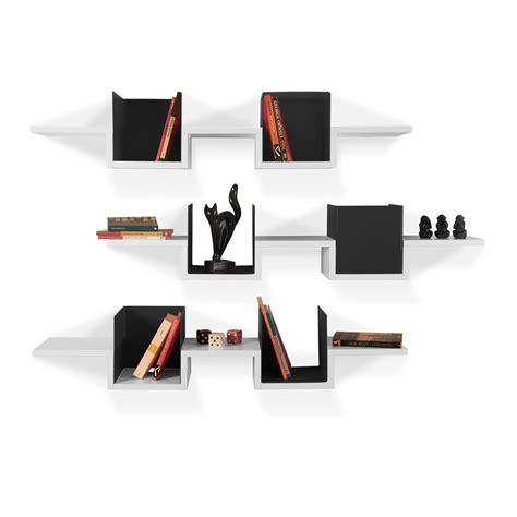 Mensole Design A Muro Triplete Tris Di Mensole A Muro In Legno E Metacrilato 120 Cm