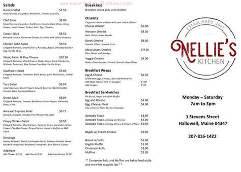 menu  nellies kitchen restaurant hallowell