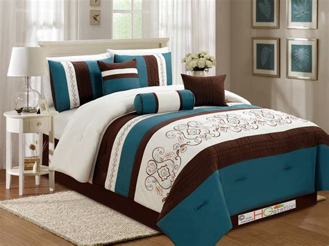 7 pc floral scroll damask embroidery piping comforter set teal brown ivory queen ebay