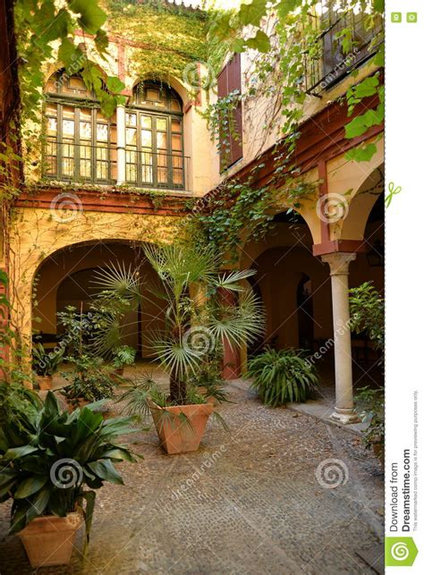 seville andalusia spain traditional house  courtyard stock image image  spanish