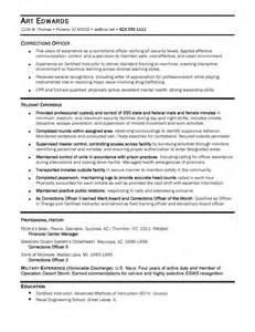 correctional officer resumes exles resume sles ace resume