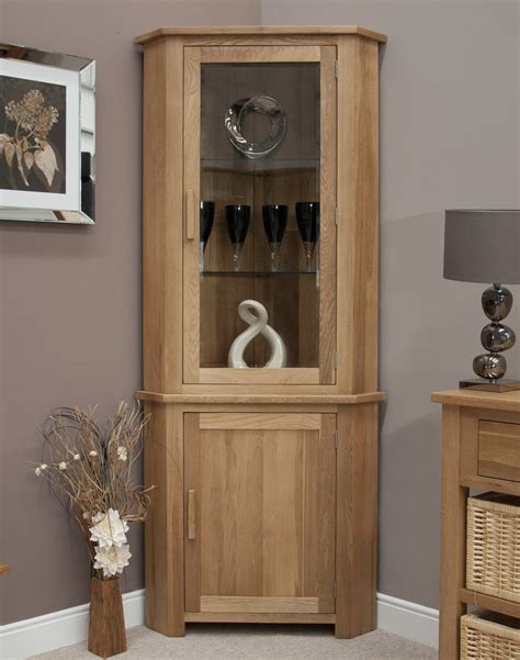 eton solid oak living room furniture corner display