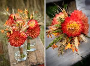 fall wedding flowers using wheat bouquets for a fall wedding