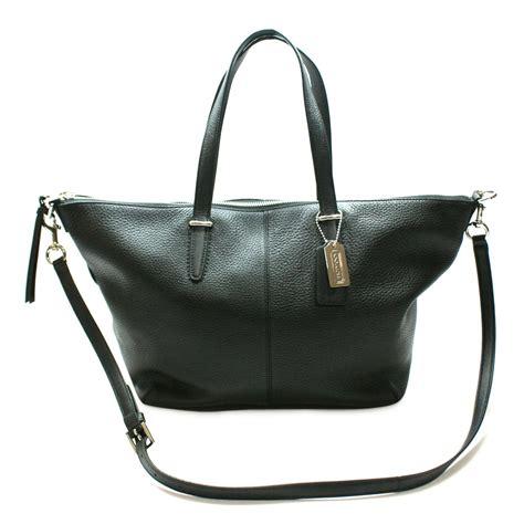 coach bleecker cooper leather satchel crossbody bag black  coach