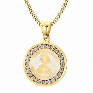 pendentif medaille vierge marie dore or fin femme faux With pendentif marie