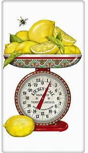 Lemons on a Vintage Scale 100% Cotton Flour Sack Dish ...