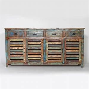 Buffet Bois Recyclé : grand buffet en bois de manguier recycl d co d coration meuble ethnique meubles color s ~ Teatrodelosmanantiales.com Idées de Décoration