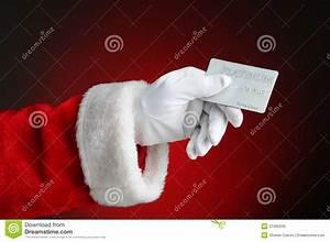 Bank Id Card Format Santa Claus Hand Holding Credit Card Stock Image Image