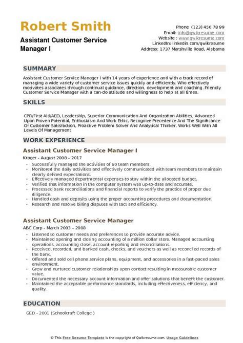 Resumes For Customer Service Managers by Assistant Customer Service Manager Resume Sles Qwikresume