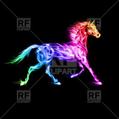 running rainbow horse  black background vector image
