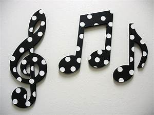 Items similar to music notes wall decor black and white on for Music wall decor