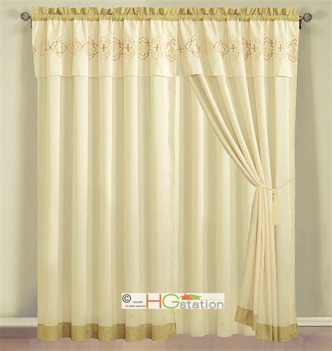 Geometric Pattern Sheer Curtains by 4 Pc Embroidery Quatrefoil Geometric Trellis Curtain Set