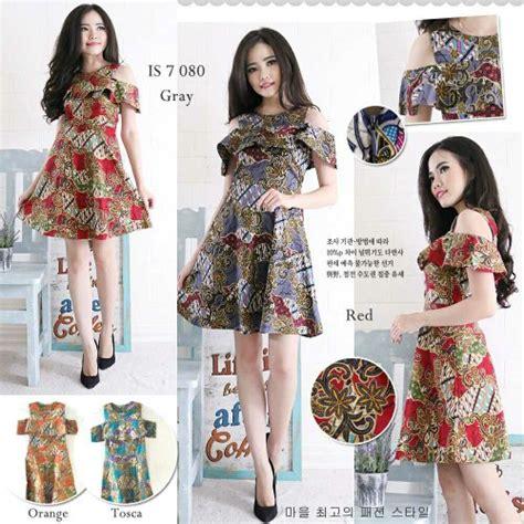jual dress batik bahu bolongdress batik modern  lapak