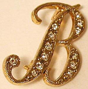 b rhinestone initial pin crystal monogram letter b With monogram letter pins