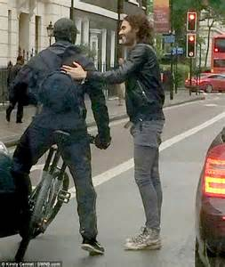 russell brand car russell brand prevents road rage with a hug after
