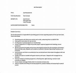 Spa Sample Format Receptionist Job Description Template 11 Free Word Pdf