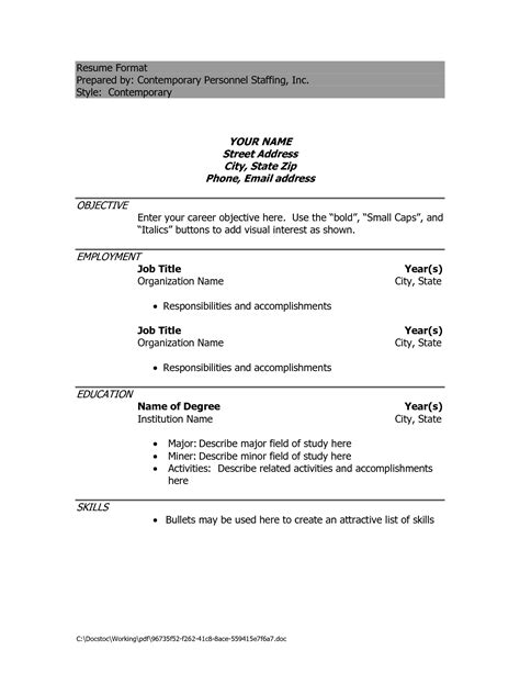 Simple Exle Resume by Simple Resume Format Doc Free Excel Templates