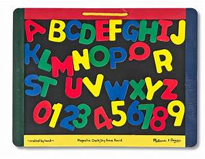 Melissa doug magnetic chalk dry erase board pupsik for Magnetic letters and numbers with board