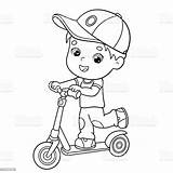 Coloring Scooter Boy Outline Cartoon Coloriage Boys Livre Activity Clipart Riding Vectors Garcon Coloration Bandes Dessinees Enfants Plan Children Illustrations sketch template