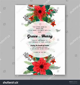 poinsettia wedding invitation sample card beautiful stock With wedding invitation flower ornaments