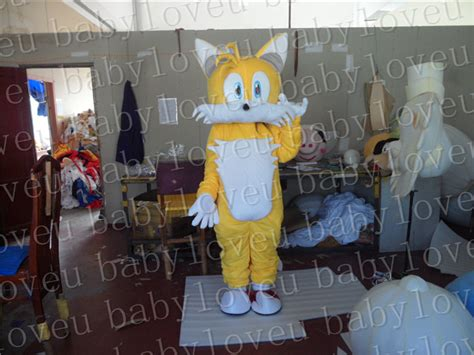 Yellow Miles Tails Fox Mascot Costume Custum Color