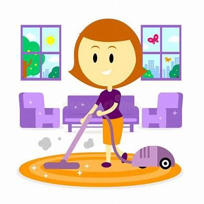 Cleaning Living Mom Cartoon Woman Vacuum Spring
