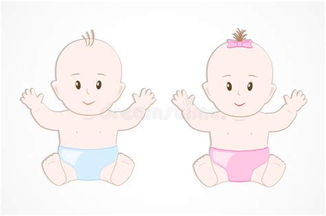 Cute Smiling Baby Twins. Baby Boy And Girl Sitting Stock