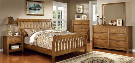 Conrad Rustic Oak Sleigh Bedroom Set From Furniture Of