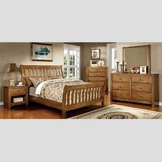 Conrad Rustic Oak Sleigh Bedroom Set From Furniture Of
